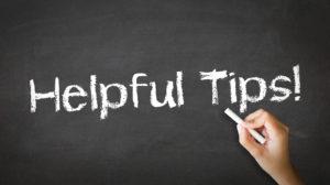Helpful tips scribed on chalkboard