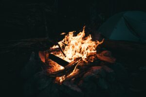 campfire wood burning flames