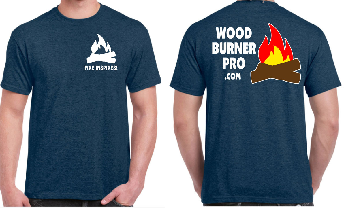 t-shirts front and bacl showing wood burner pro fire inspires