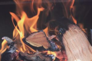 firewood burning with orange flames