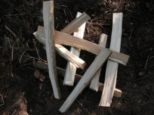 thin strips of firewood in a pile on the ground
