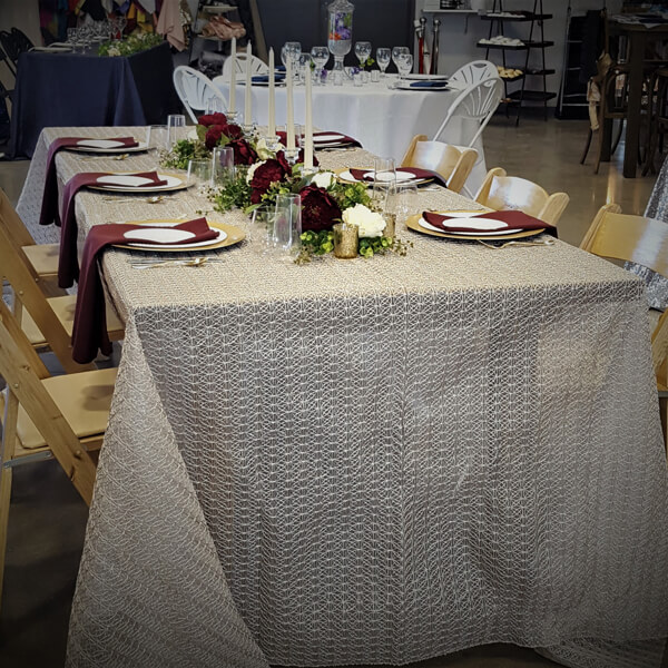 Fawn Dream Catcher Tablecloth | Celebrations by Rent-All located in Sioux Center | Wedding Rental | Overlay Tablecloths For Rent