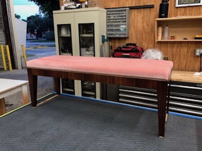 Custom Indian rosewood bench, brass nails and velvet upholstery by Kevin Gray