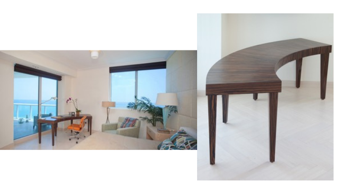 Custom cure Makassar wood desk, club chair and ottoman; nightstands in riff oak , and padded wall by Kevin Gray