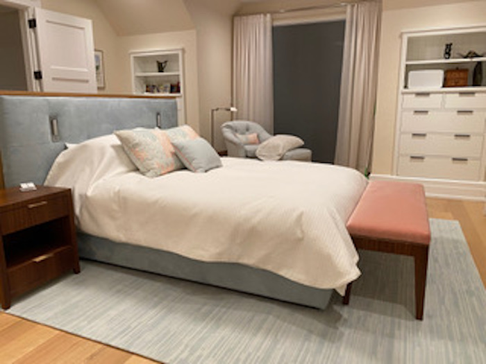 Custom master bedroom, headboard with reading lights , dresser and headboard combo, and nightstands and bench in Indian rosewood