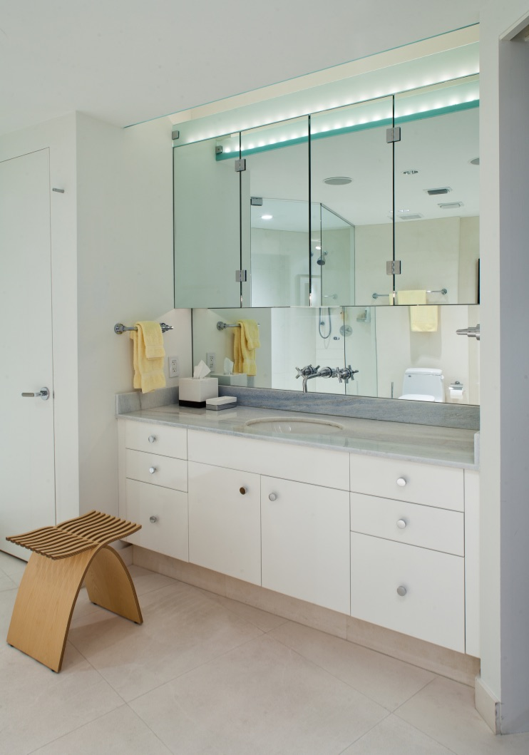 Custom vanity with skylight in dropped sheetrock celling by Kevin Gray