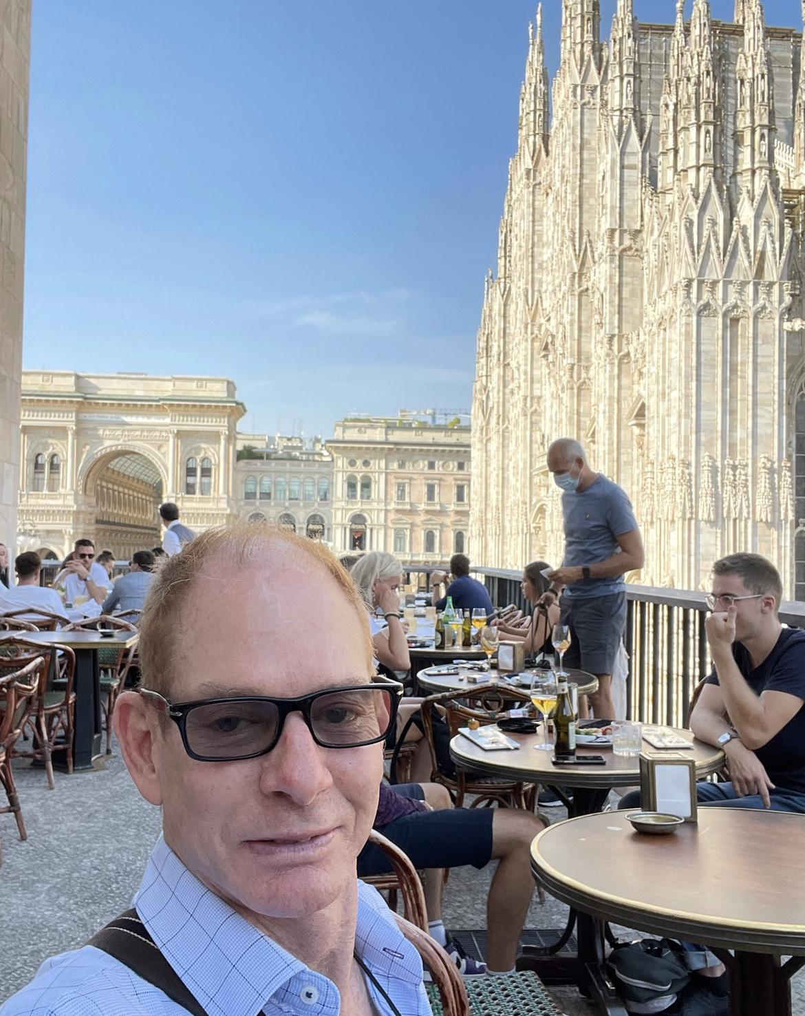 Interior Designer Kevin at work off Duomo Galleria Victor Emmanuel