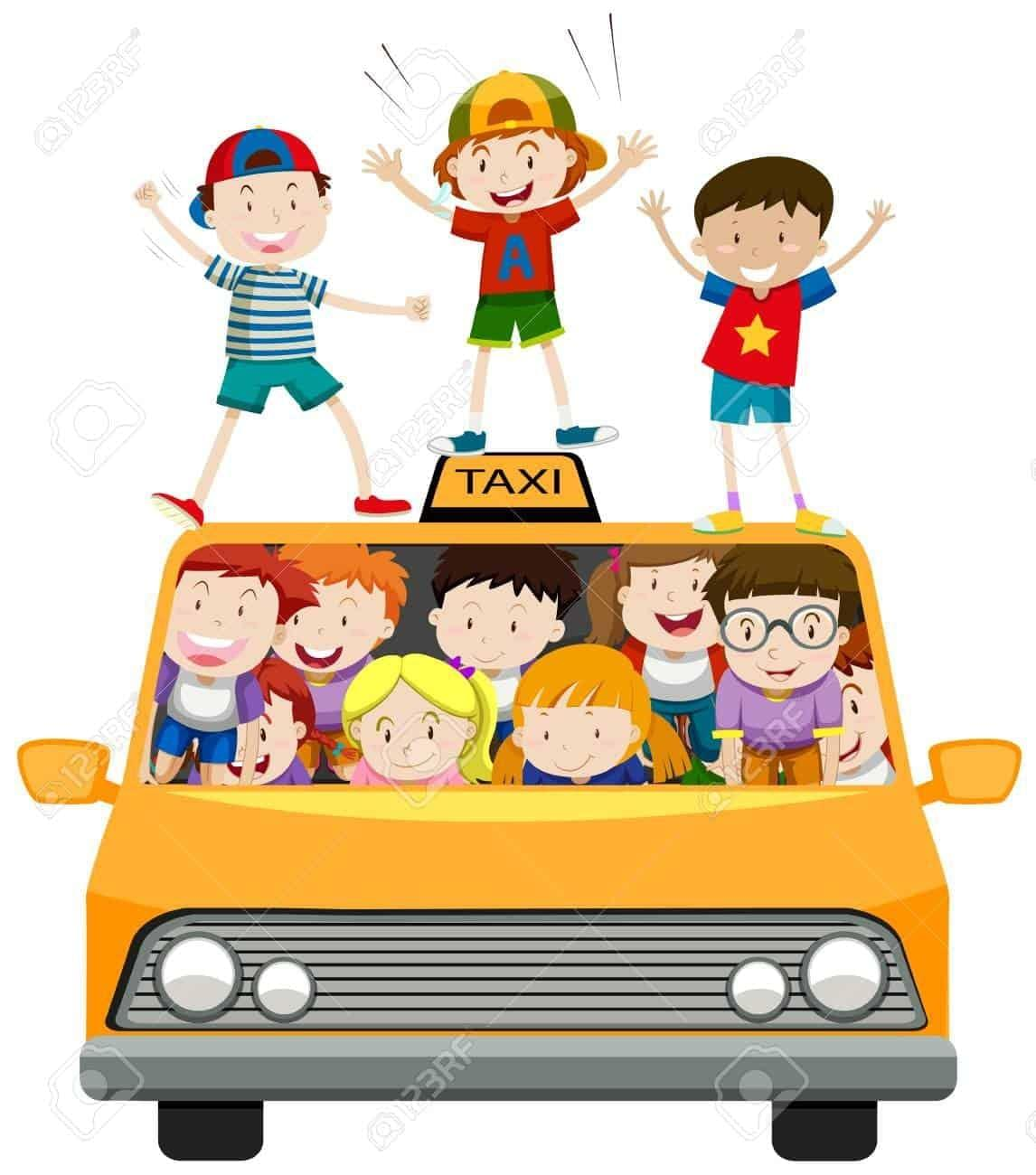 Children riding on taxi mini van