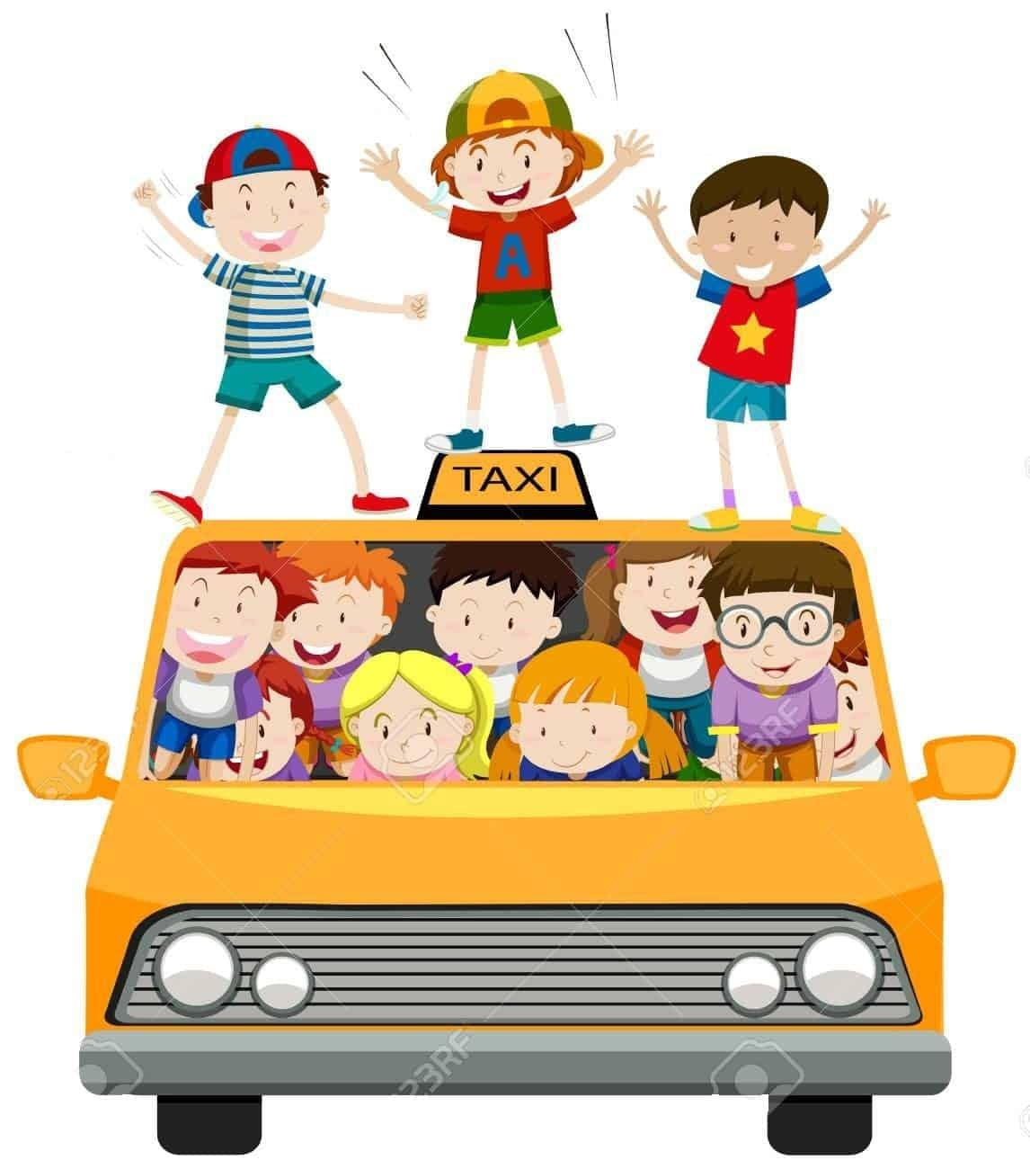 children-riding-on-taxi