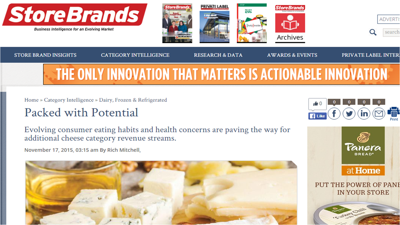 Store Brands article on cheese trends featuring Nuestro Queso
