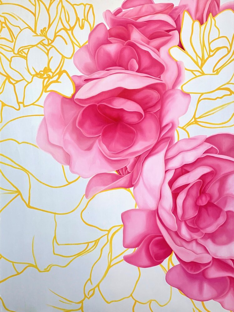 A painting of hydrangea light by Susie Kwiatkowski. The background is several different shades of pink  swirled together to complement the color of hydrangea.