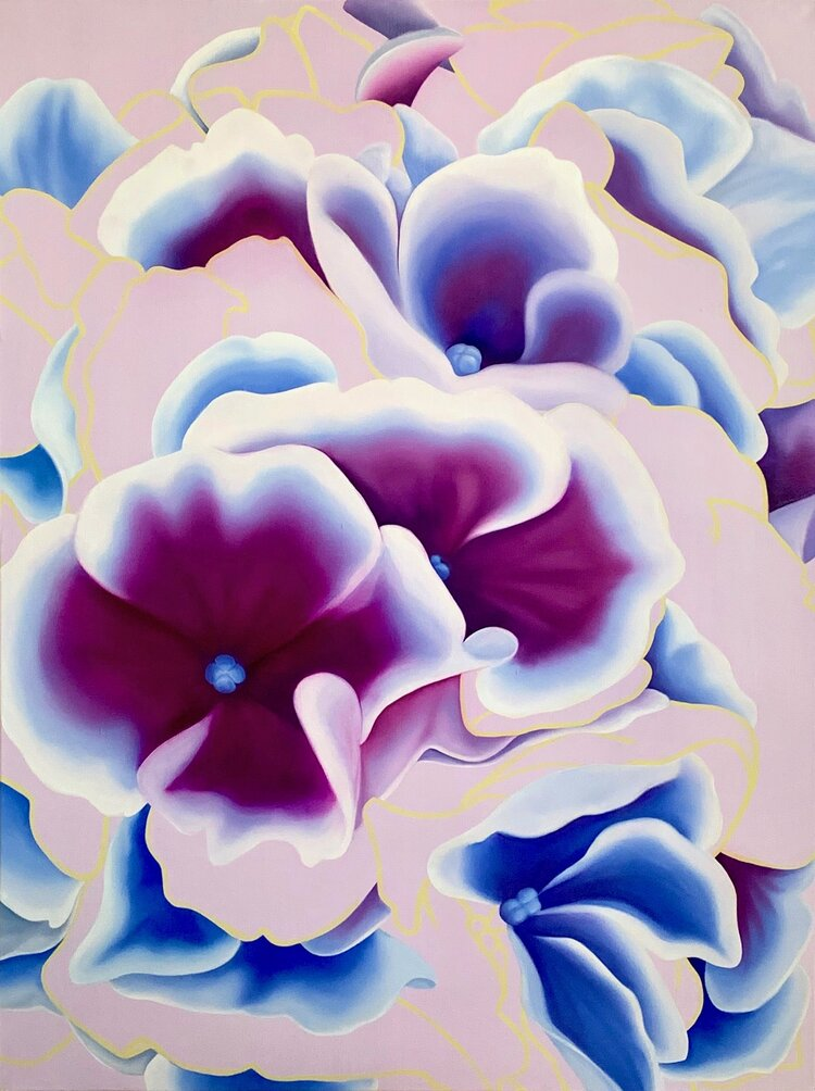 A painting of hydrangea light by Susie Kwiatkowski. The background is several different shades of blue and purple swirled together to complement the color of hydrangea.