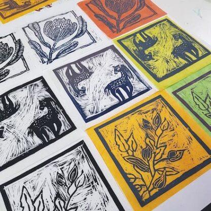 linocut print colour paper workshop
