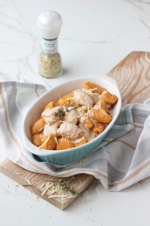 ñoquis de boniato con salsa de parmesano, sal de ajo Kotányi, recetas de cocina, 29 dia de ñoquis, gnocchis, recetas de cocina, pasta casera.