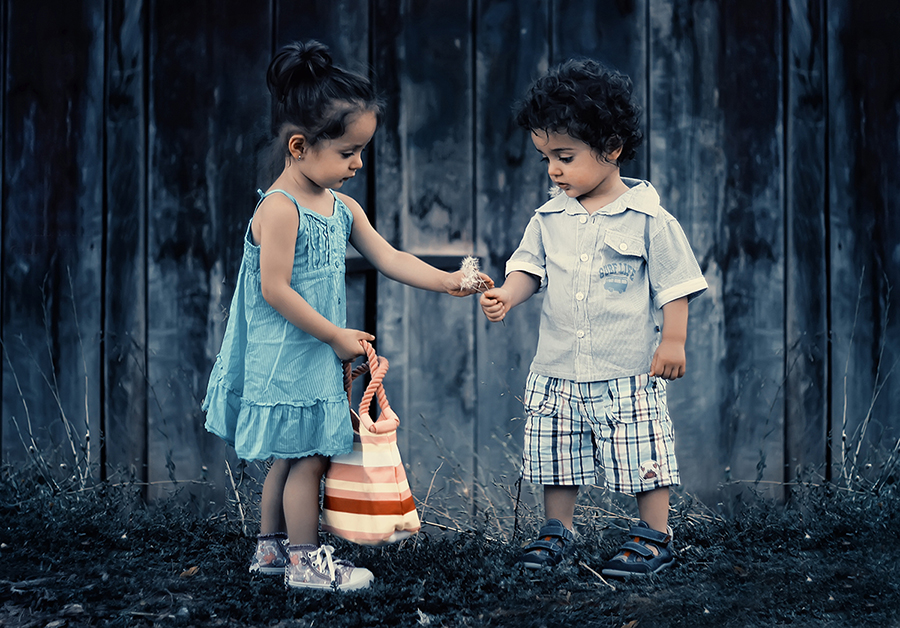 children playing with flower