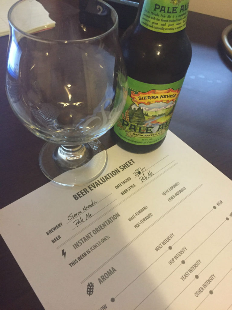 Week 1 of the Beer Tasting Mastery course involved evaluating Sierra Nevada Pale Ale.