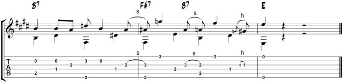 II-V fingerstyle blues turnaround example