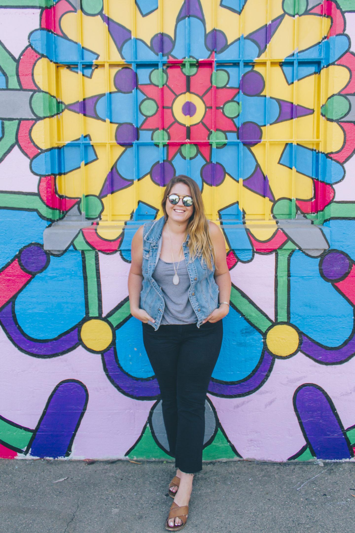 The Coolest Wall in Orange County, Denim on Denim + A Link Up // wanderabode.com