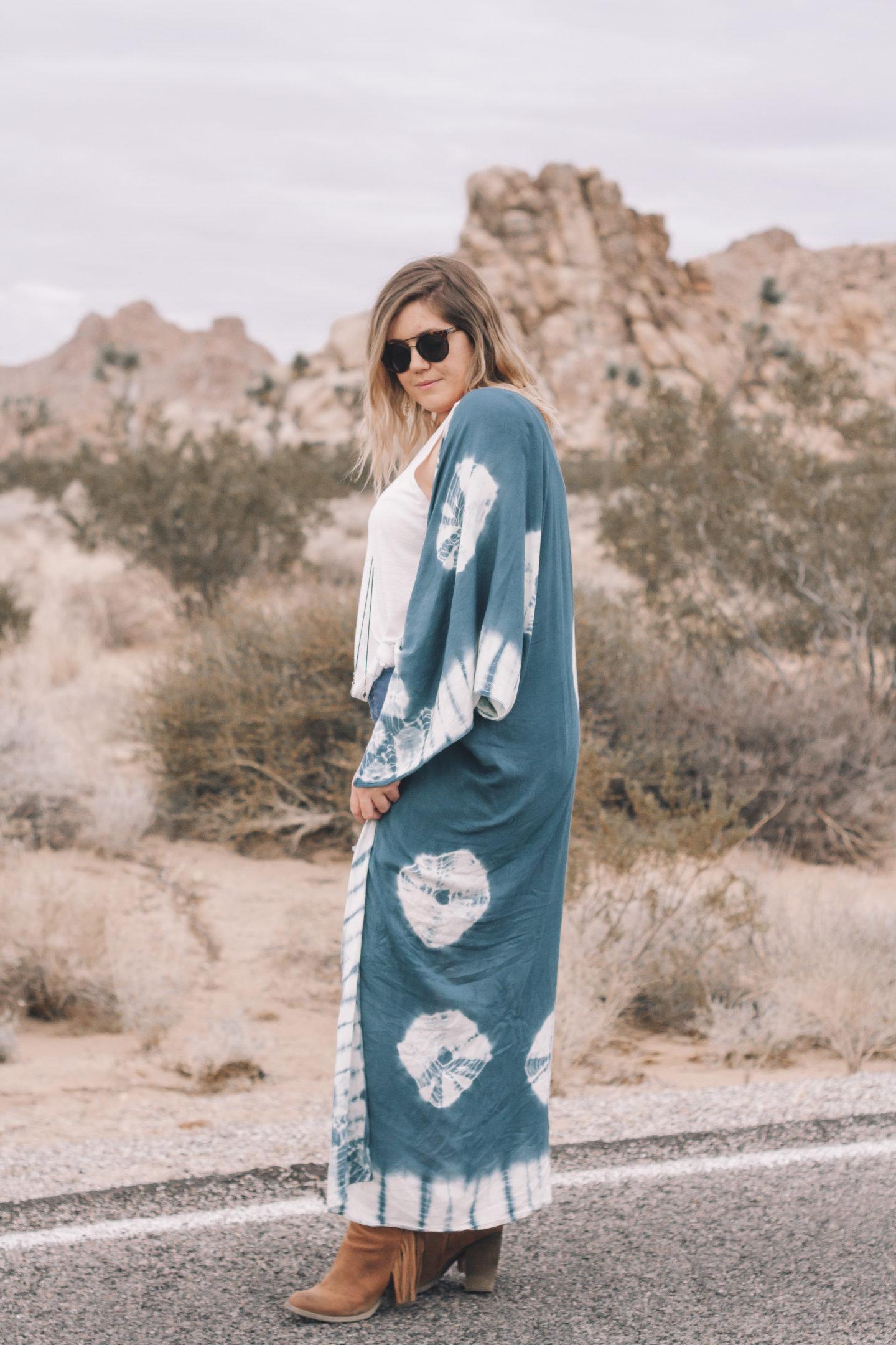 tie dye kimono, free people spellbound kimono, coachella outfit, boho spring outfit