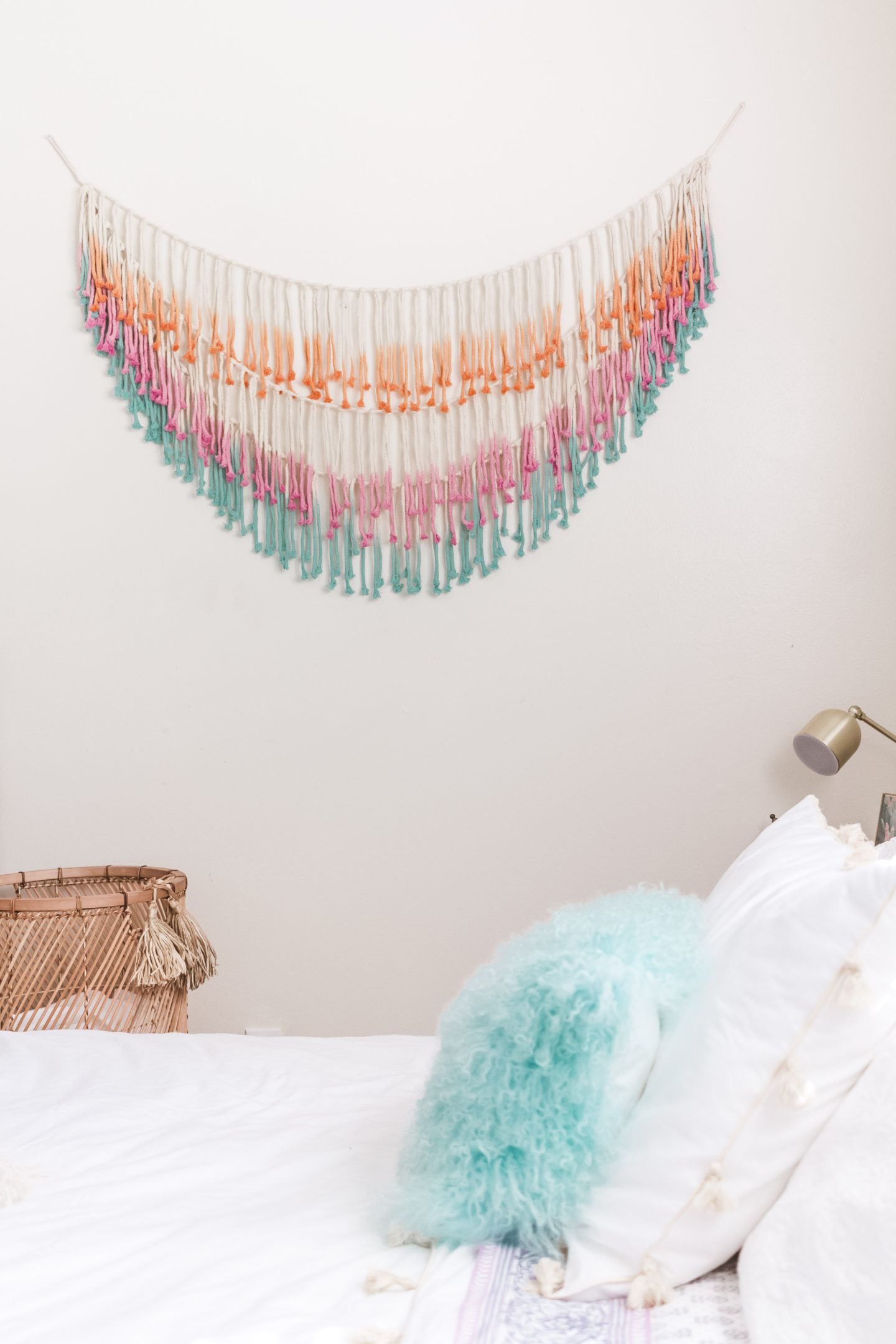 ombre wall hanging, bright boho chic bedroom #mypbteen #sponsored