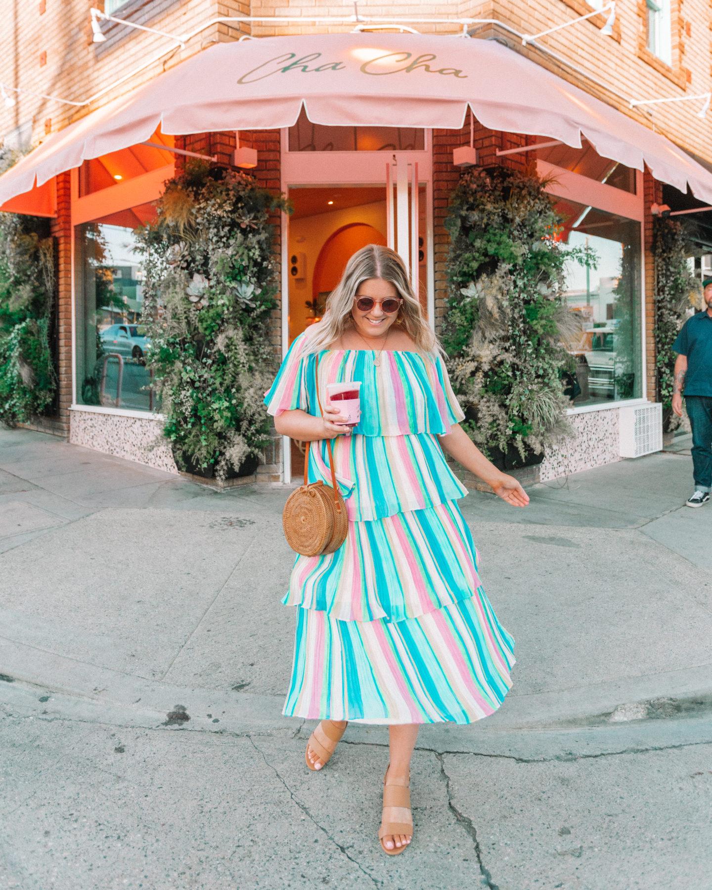rainbow striped dress, cha cha matcha, spring dress