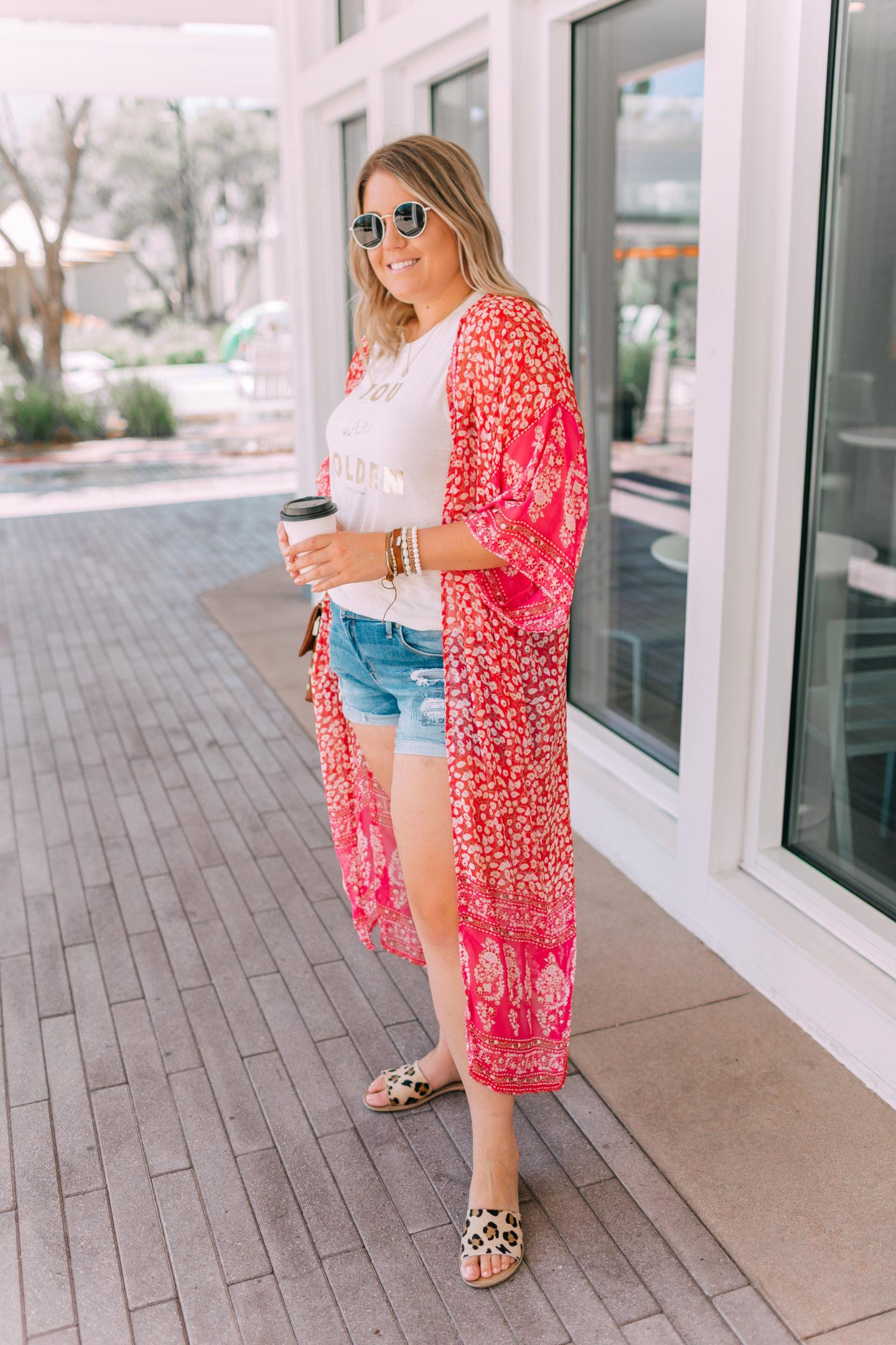 Summer outfit, printed kimono, Victoria Emerson sale