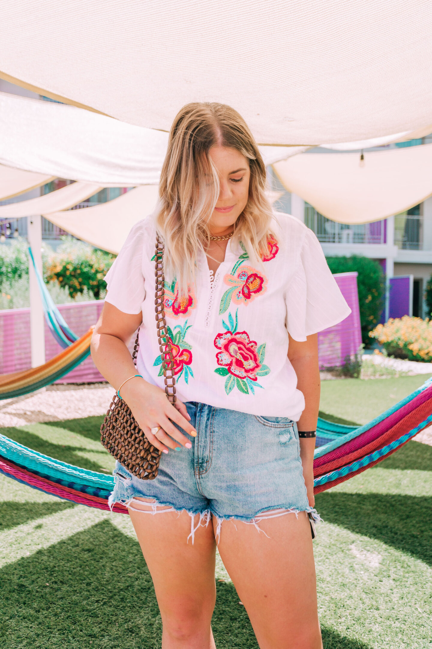 white floral embroidered top in palm springs