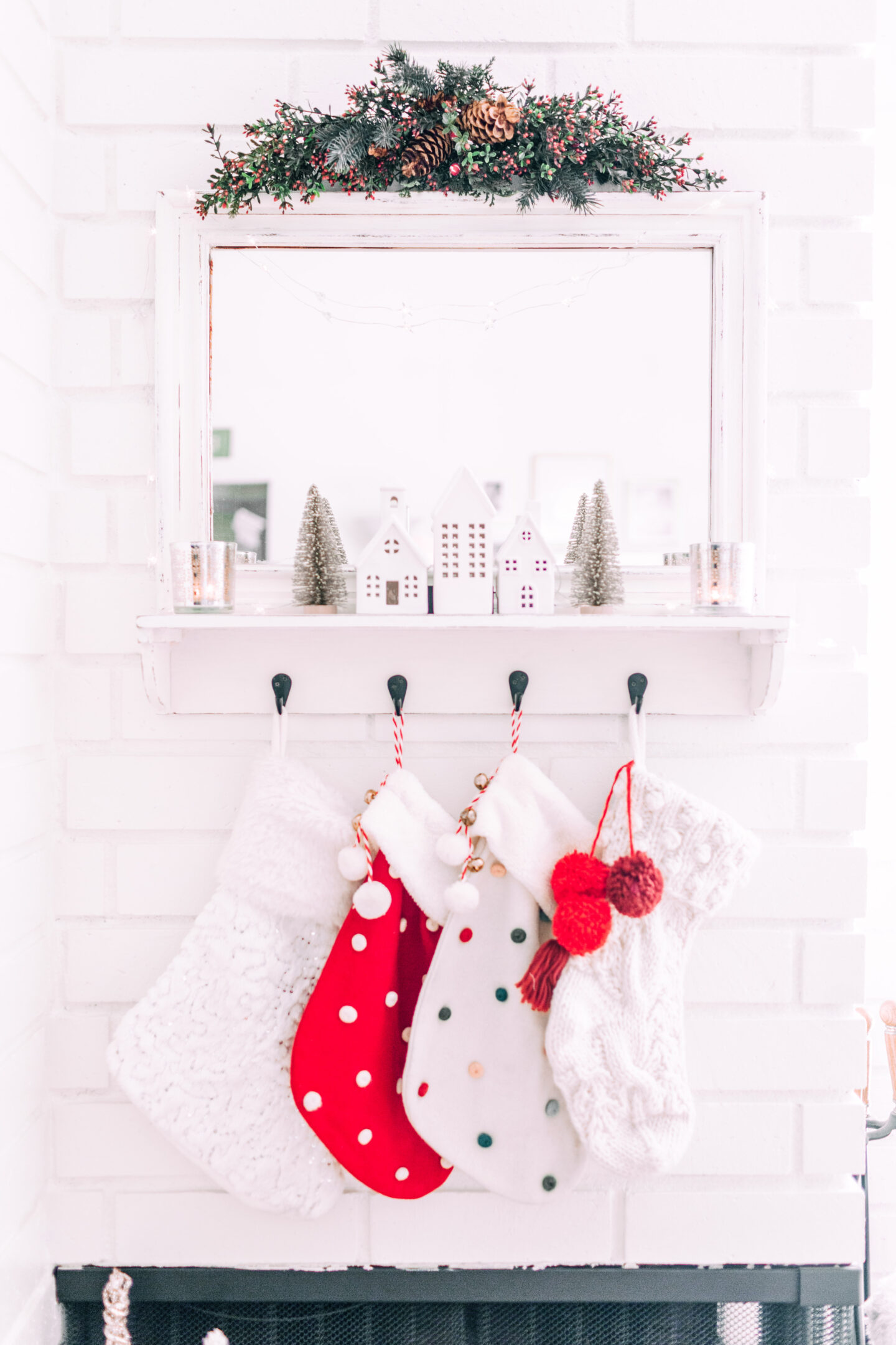 MY CHRISTMAS DECOR: RED & WHITE WONDERLAND // fireplace christmas decor, christmas mantle, target christmas