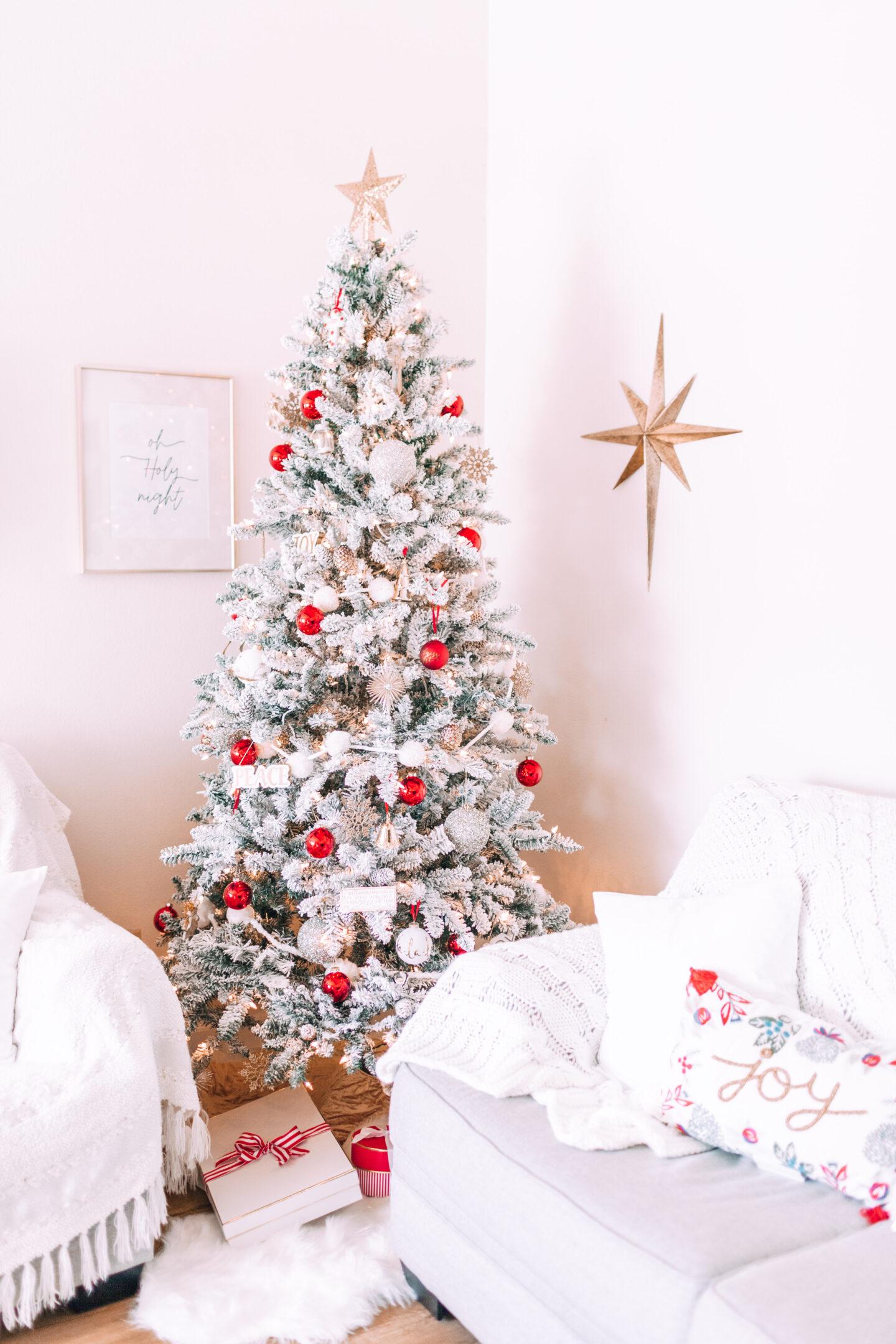 MY CHRISTMAS DECOR: RED & WHITE WONDERLAND // target christmas, flocked christmas tree, mercury glass trees, joy pillow