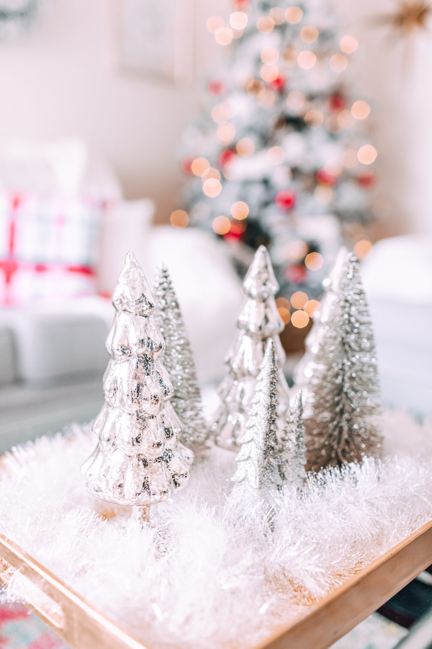 MY CHRISTMAS DECOR: RED & WHITE WONDERLAND // target christmas, flocked christmas tree, mercury glass trees