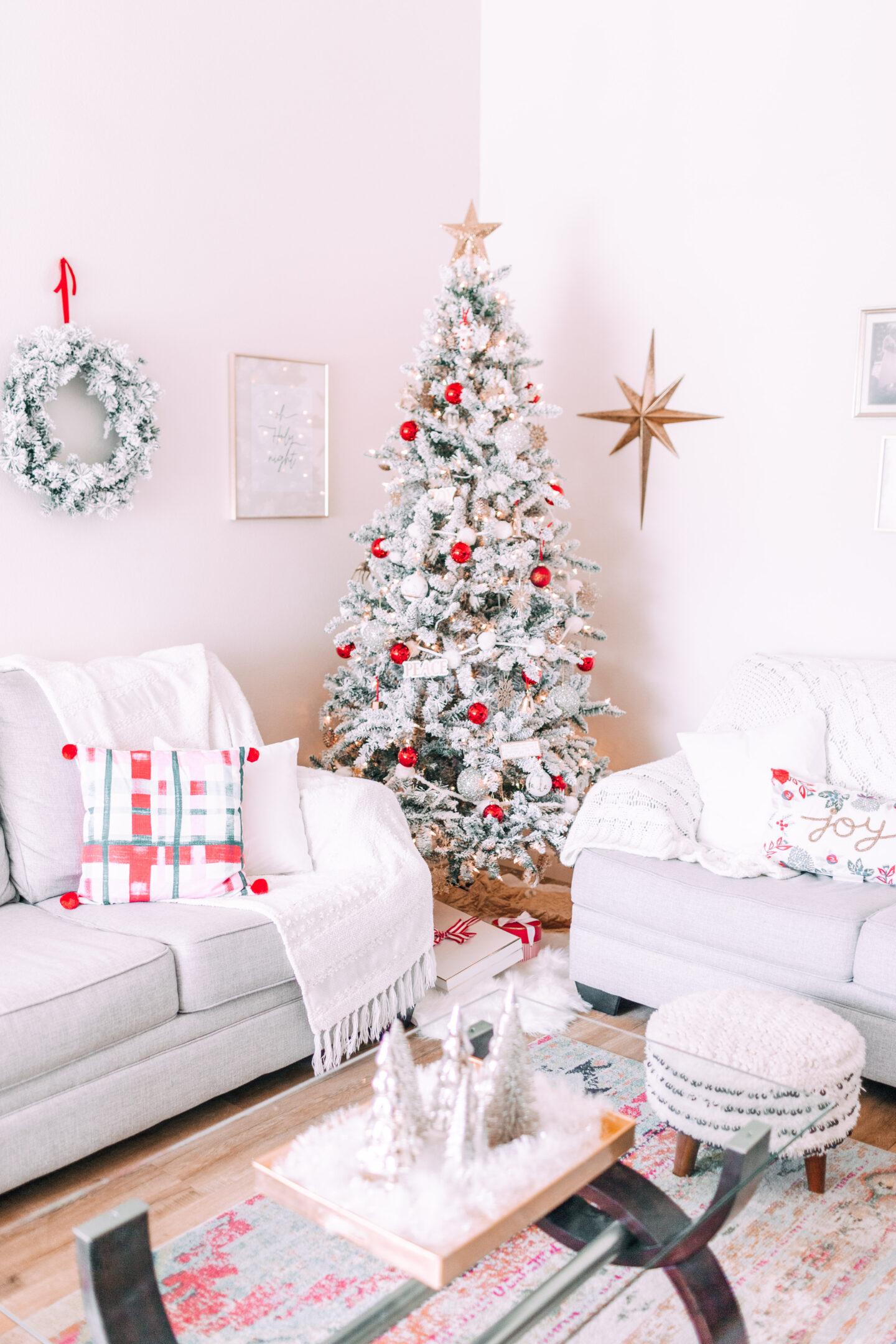 MY CHRISTMAS DECOR: RED & WHITE WONDERLAND // target christmas, flocked christmas tree