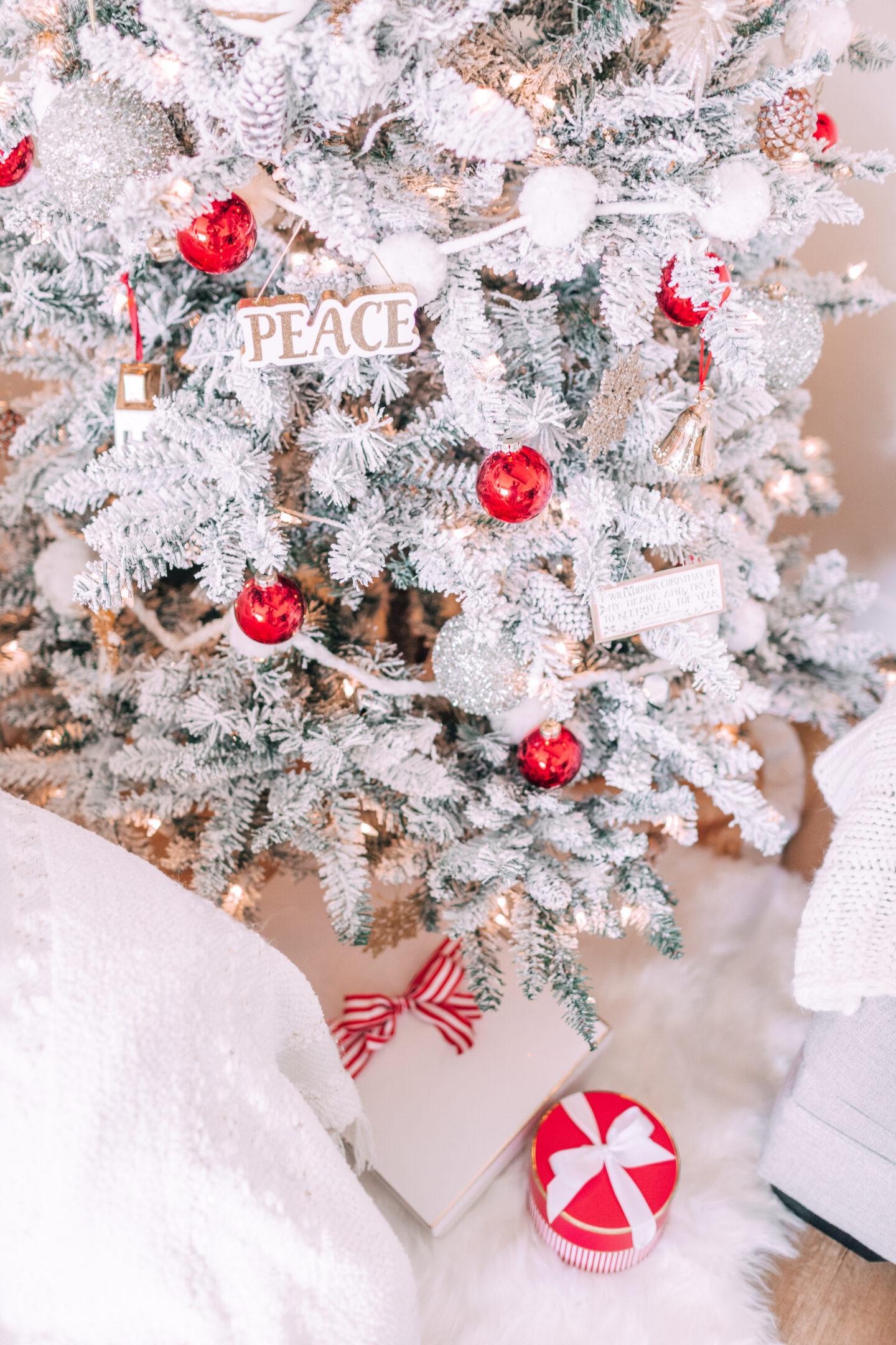 flocked christmas tree, sugar paper christmas wrapping