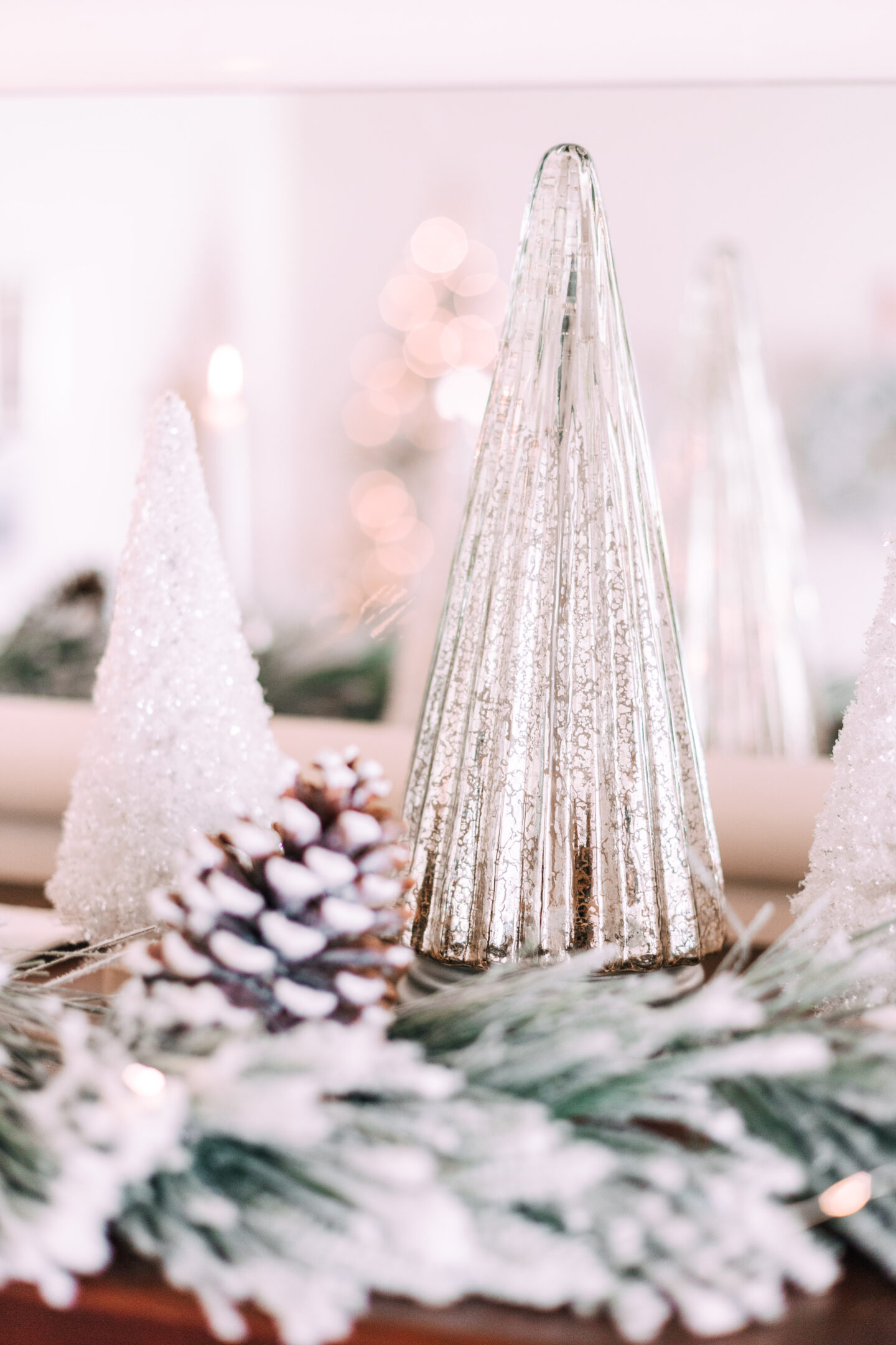 mercury glass christmas trees, frosted bottle brush tree
