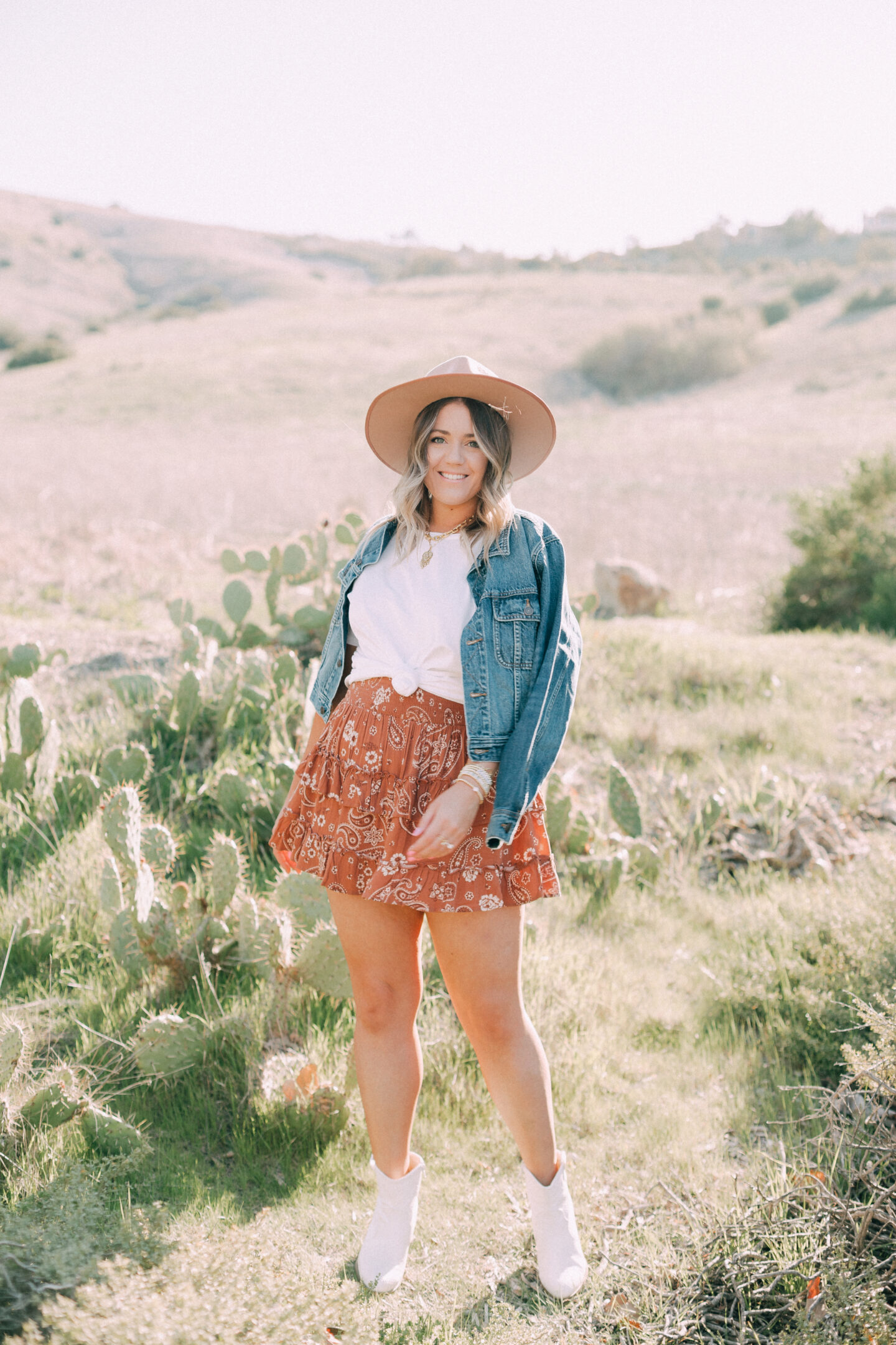 western inspired outfit in a paisley skirt
