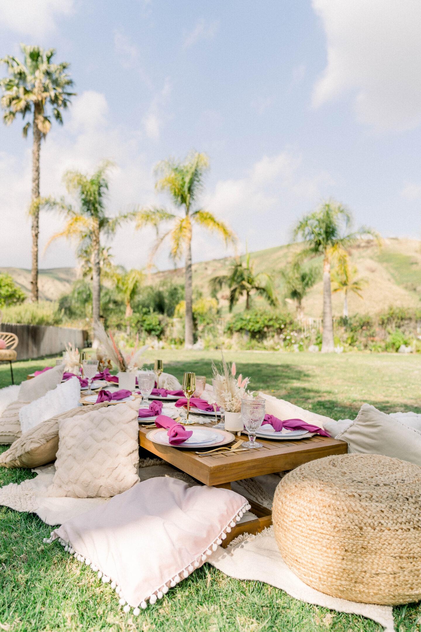 Seaside Picnic Rentals OC // backyard boho picnic