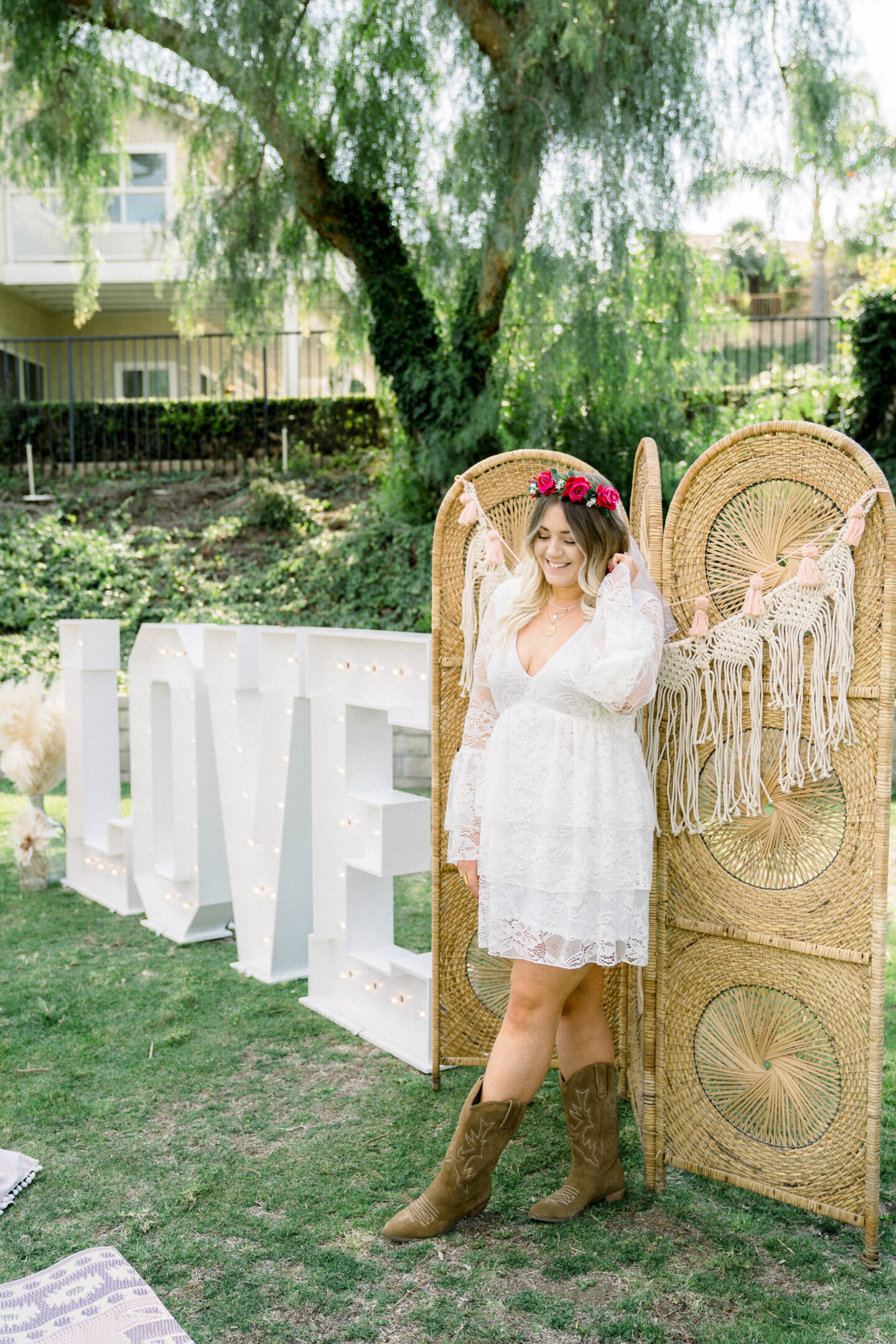 Lola's Letters marquee letters in Orange County, CA //Show Me Your Mumu white dress // boho bridal shower dress
