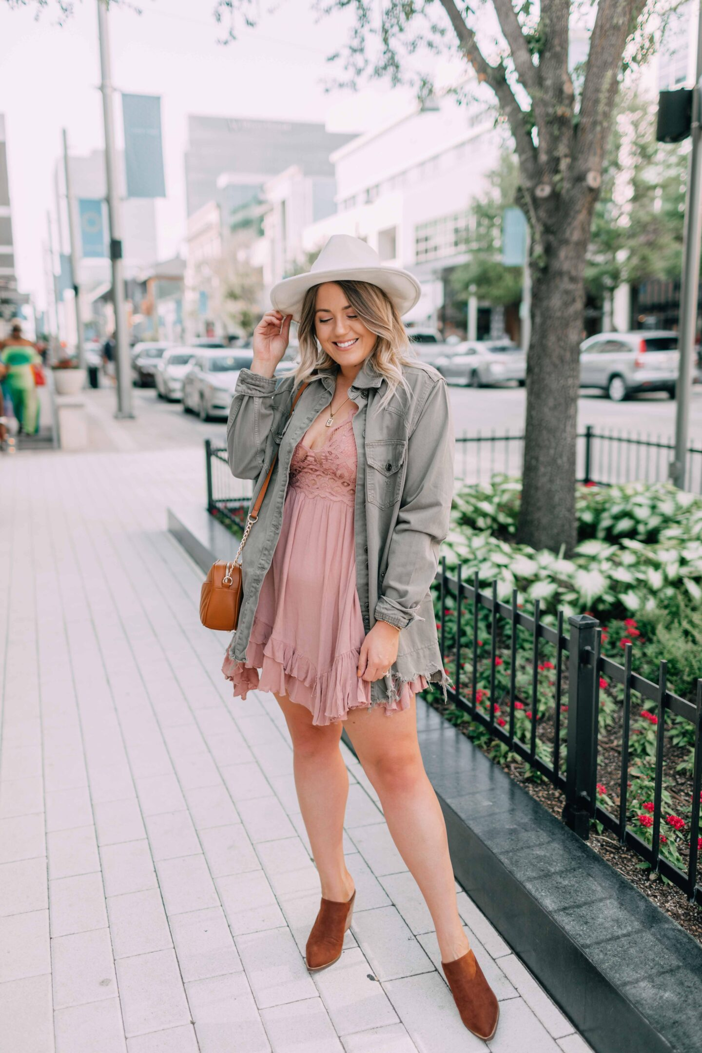 Early Fall Date Night Outfit, free people dress, free people jacket