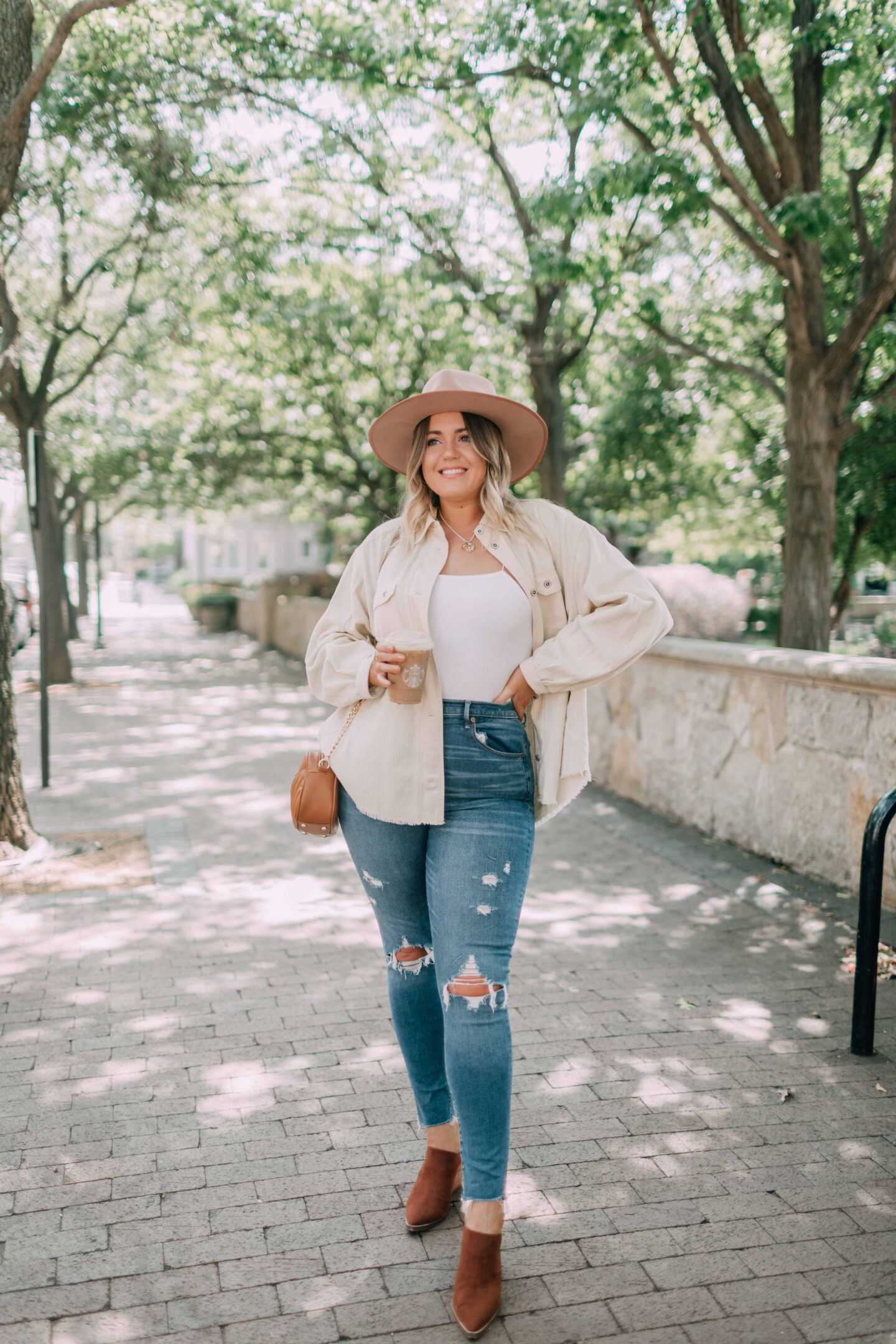 A Casual Fall Outfit \\ cream corduroy shirt jacket