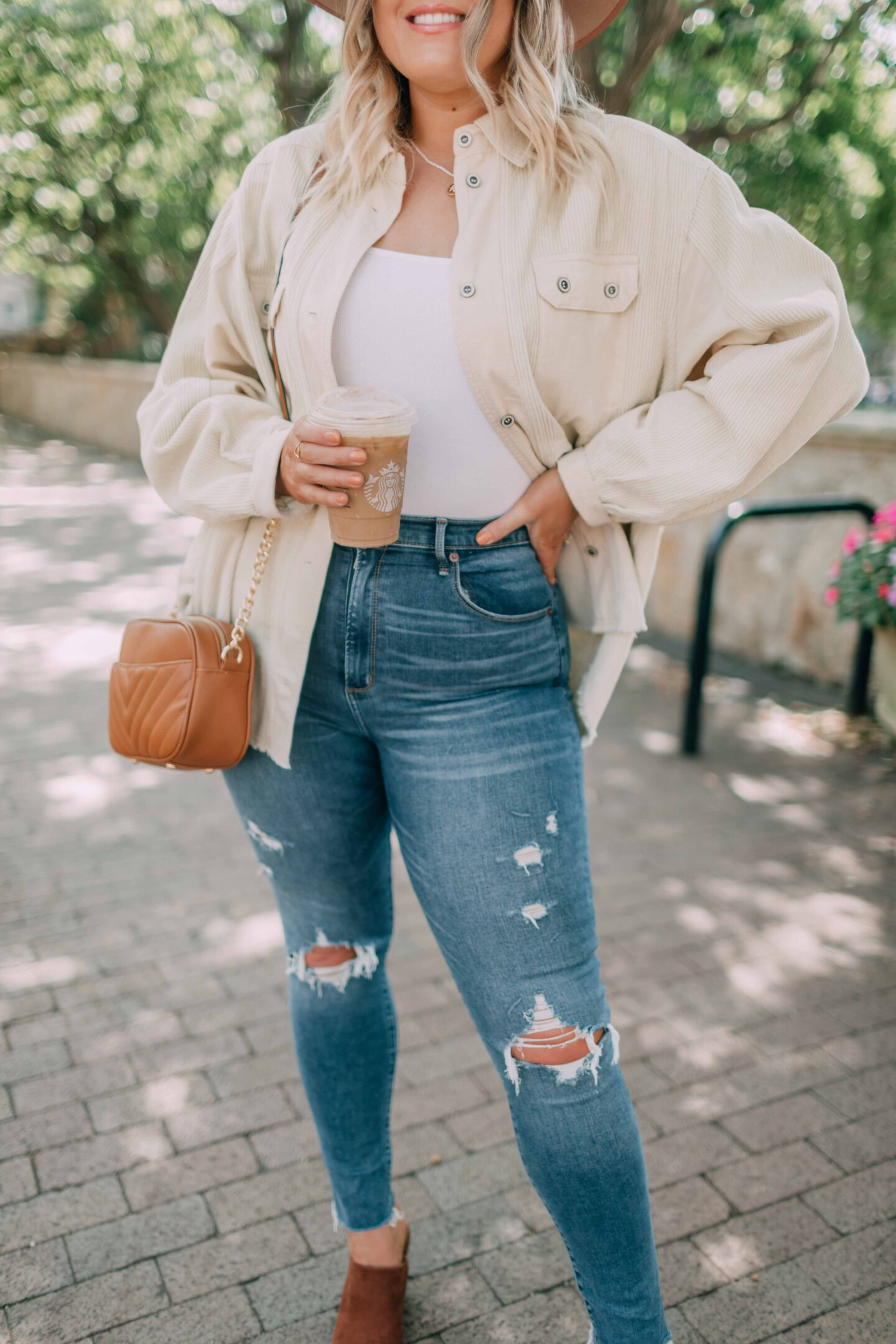 cream corduroy shirt jacket from the Nordstrom Anniversary Sale