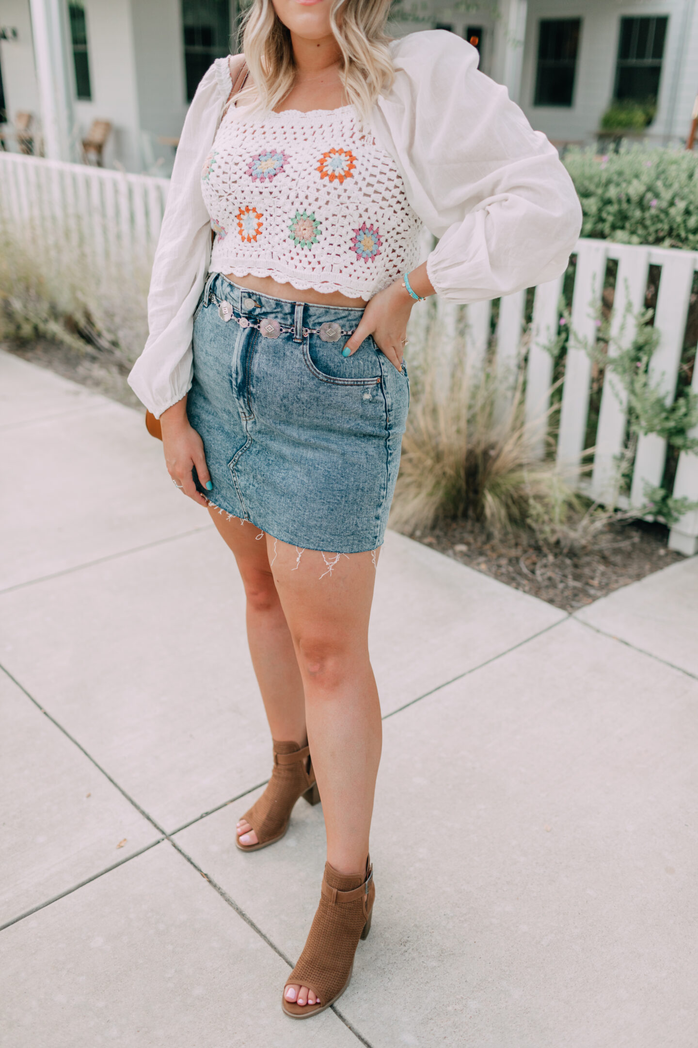 early fall outfit, crochet crop top