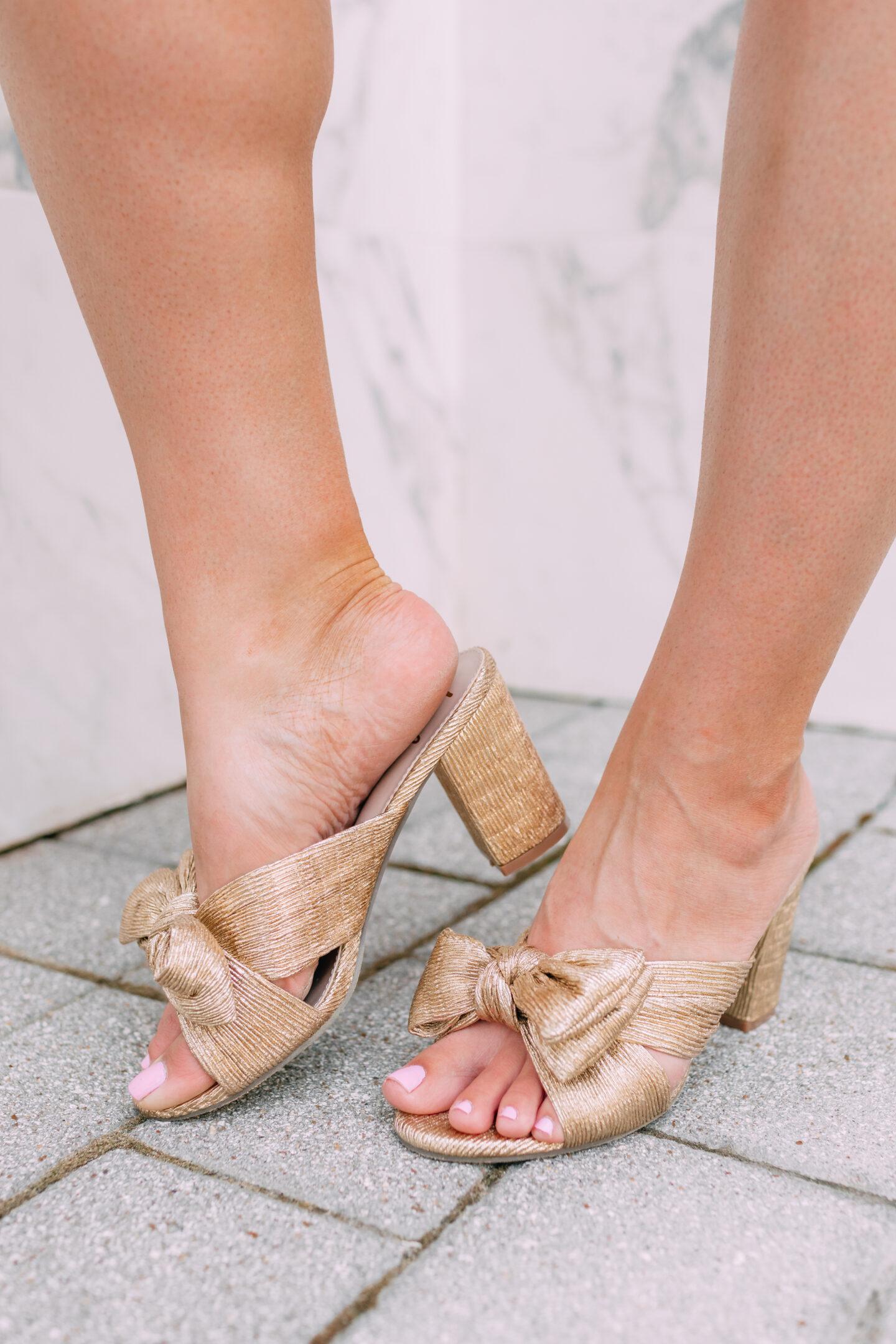 metallic gold bow heels