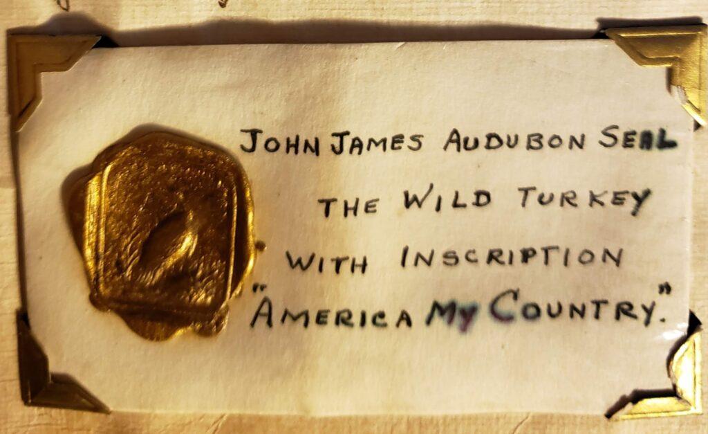 Impression on gold wax of John James Audubon's seal