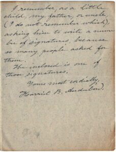 Letter from Harriet Audubon to Susan Starling Towles, January 30, 1930