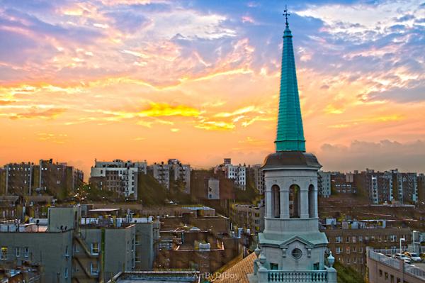 Sunset Over Church Washington Heights & Inwood