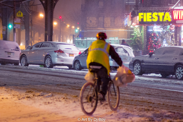 Delivery Man in Snow - Washington Heights