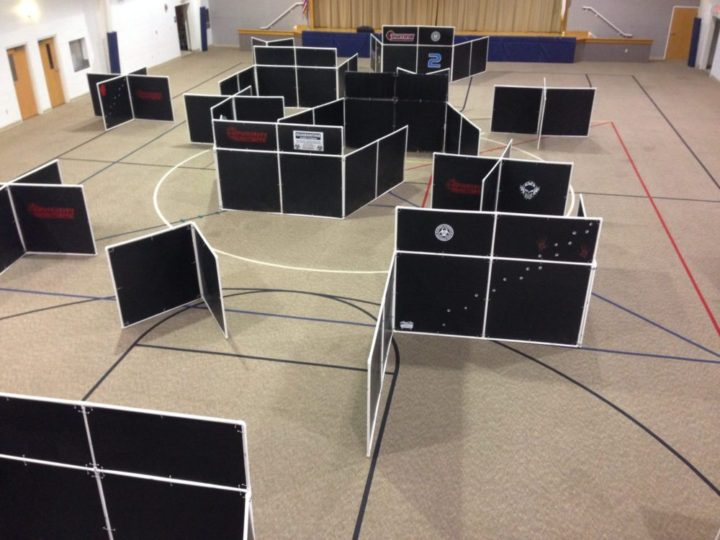 We can set up a laser tag battlefield indoors or out and play day or night.
