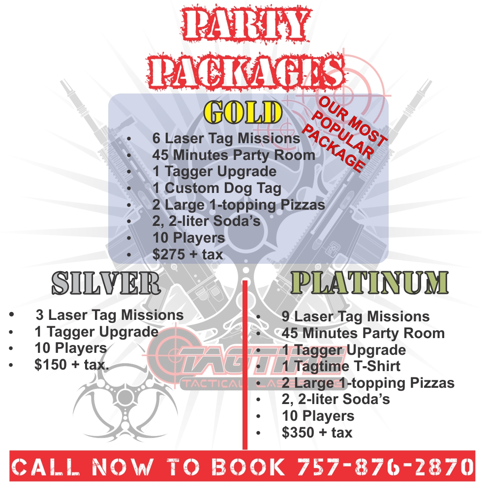 Tagtime Laser Tag Birthday Party Packages prices and descriptions