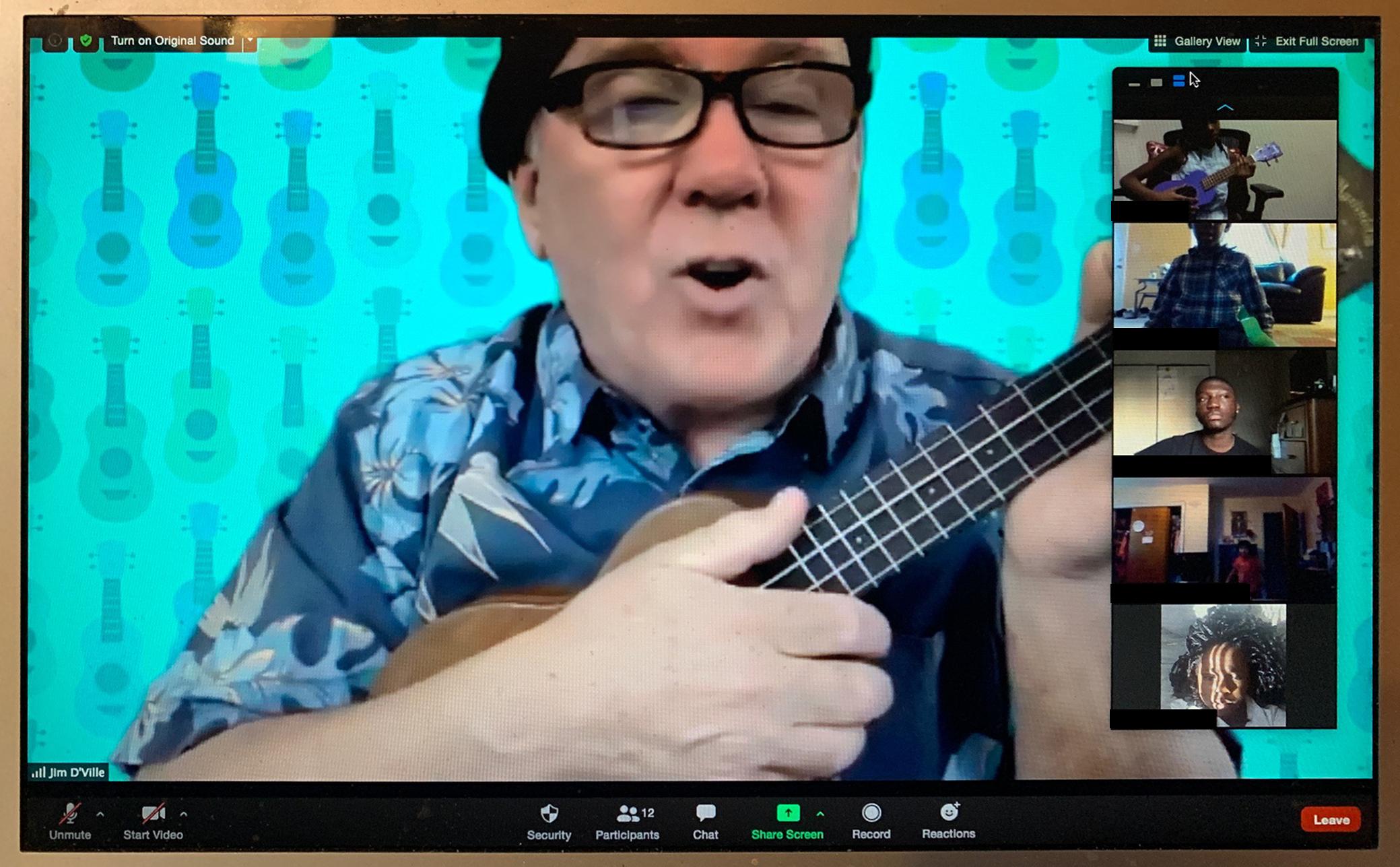 Jim teaches a ukulele lesson online for the Tapestry Music Program