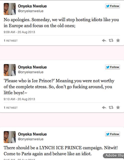Onyeka Nwelue Calls for Lynching of Ice Prince 9