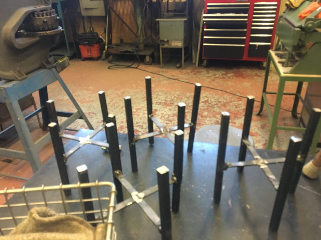 Partially welded plant stands